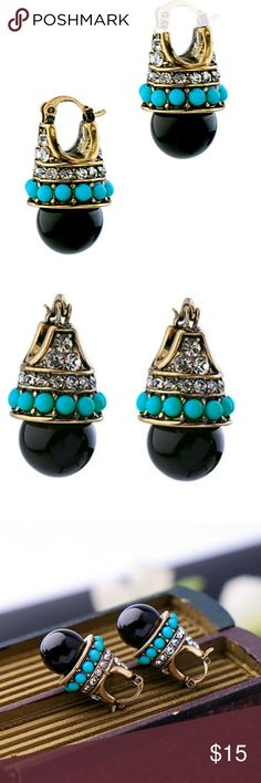 Vintage looking drop black earrings Look every bit as beautiful in person. Can be worn to dressy night out or a casual day with friends. You will be sure to get compliments when wearing these beauties.    I'm a suggested user and a top rated seller. Nonsmoking pet free home. Always bundle for a discount Free gift with $15 purchased Jewelry Earrings