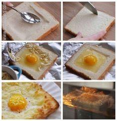 Tostada de huevo y queso. Cómo Hacer Tostada de huevo y queso. Aveces no sabemos como hacer comer a los niños comidas que de otra forma no comerían, Tostada