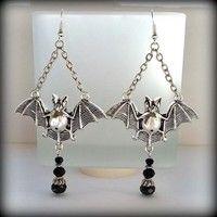Wish | 1Pair Gothic Style Bats Earrings Women's Punk Ear Hook Dangle Earring (Color: Antique silver)