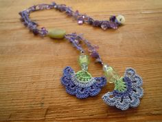 crochet necklace lavender lilac by PashaBodrum on Etsy, $20.00