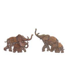 Love this Metal Elephant Wall Art Set on #zulily! #zulilyfinds