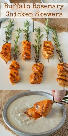 These Buffalo Rosemary Chicken Skewers come with a built-in handle. Buffalo marinated chicken pieces are skewered onto fresh rosemary sprigs for a pretty presentation and little infusion of rosemary. Serve with delicious blue cheese dipping sauce. Chicken Skewers, Marinated Chicken, Blue Cheese Dipping Sauce, Tapas, Winter Desserts, Party Desserts, Slow Cooker Desserts, Rosemary Chicken, Fudge Recipes