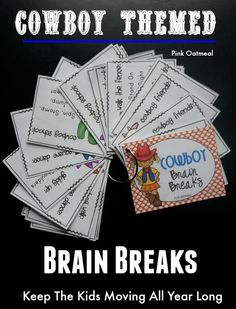 I love the cowboy themed idea for the brain breaks.  So much fun for the kids! - Pink Oatmeal