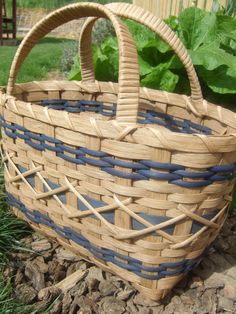 Brown and blue Around Town tote - Hand woven Tote basket - stained with my own stain made from pecan shells