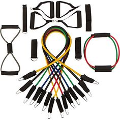 19 Pc Resistance Band Set Best Workout Bands for P90X Crossfit Yoga  Physical Therapy Exercise Tubes  Handles Ankle Straps Door Anchors for Exercise Cords Exercise Guide PDF *** Click on the image for additional details.