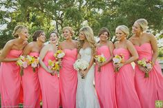 Fun bright colors bridesmaid bouquets Whim Florals   Camp Lucy   Ian's Chapel   Doberenz Photography