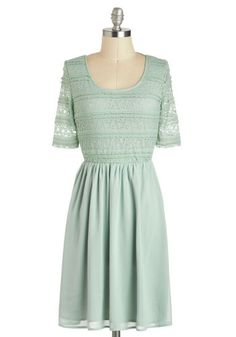 Sage of Aquarius Dress - Mid-length, Mint, Solid, Backless, Lace, Party, A-line, Short Sleeves, Daytime Party, Fairytale, Pastel