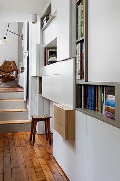 Cubes biblioth que en bois ou en laque brillante bureau - Interieur appartement original et ultra moderne a paris ...