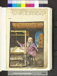 Amb 317b.2 ° folio 94 recto 1617 The brother wears knee breeches and white collar. He sits at his loom and leads with his left hand the shuttle. On the floor is a basket with coil.