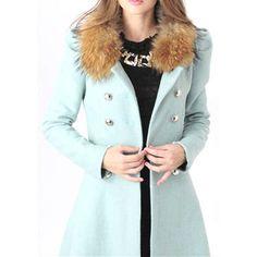 New 2.015 zimné módne Ženy Vlna a zmesi Slim Double Breasted Srsť dlhú hustú Vrchné s kožušinovým golierom, 6 farieb, S, M, L, XL-in Wool & mieša od Dámske oblečenie a doplnky na Aliexpress.com   Alibaba Group
