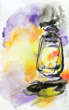 Lantern small original watercolor ink painting от orangerinka