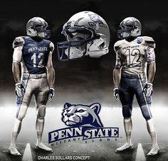 Concept uniform for Penn State Football. Penn State Athletics, Penn State Logo, Penn State College, Football Uniforms, Football Gear, Sports Uniforms, Football Helmets, College Football, College Uniform