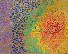 Alyse Radenovic (American) Genesis 3:4–9 Gold and Rainbow  ~  This is my painting of the full Hebrew text of Genesis 3:4–9. It is painted in gold, red, orange, yellow, green, blue and violet.