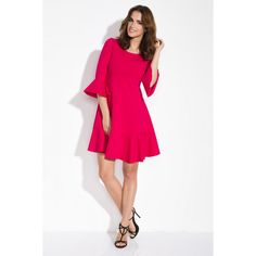 Rochie rosie lungime medie cu croi lejer si maneci clopot  #rochiirosii #rochierosie Cold Shoulder Dress, Red, Dresses, Fashion, Vestidos, Moda, Fashion Styles, The Dress, Fasion