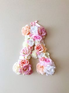 This listing is for sophisticated custom flower letter in soft pinks, creams and white, with little flowers for the texture added, 45 cm/17.8 height (please contact me if you would like a smaller 35cm/13.8 letter or any other colors).  A perfect decor for your dream interior, birthday party or wedding - will freshen up any type of room - nursery, bedroom, childrens room, entrance way or office. Make this a focal point or complete your gallery wall. Perfect gift to a baby shower!  US...