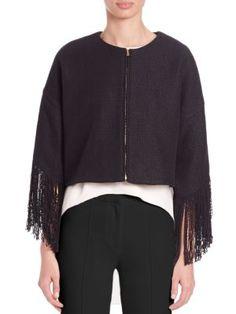 ADAM LIPPES Cropped Fringe-Trim Jacket. #adamlippes #cloth #jacket