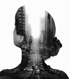 Retratos de dupla exposição juntando dois mundos em um