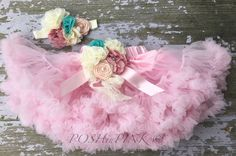 Pink chiffon pettiskirt, petti skirt,holiday, Birthday, light pink, baby, headband, girls skirt, toddler, baby, with flower pin, brooch by POSHinPINKKIDS on Etsy