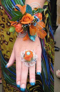 Orange & Blue Prom Wrist Corsage & Flower Ring
