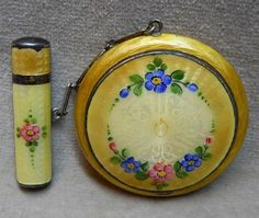 Vintage Guilloche Enamel Art Deco Compact with Attached Lipstick.