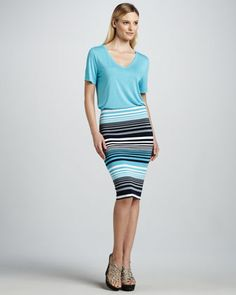 V-Neck Jersey Tee & Multi-Striped Pencil Skirt by Three Dots at Neiman Marcus. $52