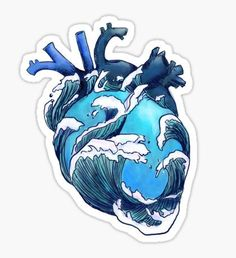 """""""Beneath the Waves"""" Stickers by gohldfish Tumblr Stickers, Cute Stickers, Laptop Stickers, Aesthetic Stickers, Art Inspo, Amazing Art, Cool Art, Art Drawings, Tattoo Drawings"""