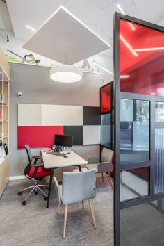 ArcoSITE designed the office for financial services giant Societe Generale located in Belgrade, Serbia. The French financial services and investment bank, Interior Work, Interior Design, Cool Office Space, Office Spaces, Pvc Flooring, Glass Partition, Waiting Area, Office Interiors, Wood Design