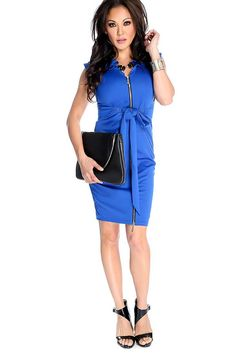 #FashionVault #kandy kouture #Women #Dresses - Check this : Sexy Royal Blue Zip Up Waist Tie Party Dress for $39.99 USD