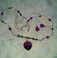 Pink and Black Heart Necklace and Earrings for by MyGrandmasHome