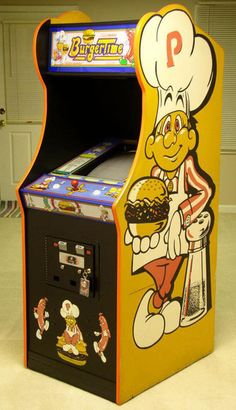 Burger Time arcade game in an upright cabinet Arcade Game Room, Retro Arcade Games, Mini Arcade, Arcade Game Machines, Arcade Machine, Vintage Videos, Vintage Video Games, Retro Video Games, Bartop Arcade