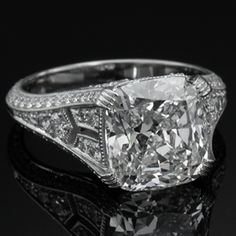Classic Edwardian style diamond engagement ring. Holds over a 5ct cushion cut diamond. Turgeon-Raine Jewellers. Seattle. Rare & Collectable.