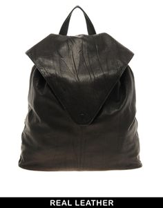 Image 1 of ASOS Leather Backpack With Pointed Flap