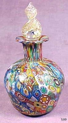 Vintage Murano Millefiori Perfume Scent Bottle w/ Stopper Gold Leaf Art Glass