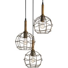 Emery Industrial loft Round Wire Frame Trio Pendant Light (3,250 ILS) ❤ liked on Polyvore featuring home, lighting, ceiling lights, wire lamp, wire pendant light, wire lights, triple pendant light and wire pendant lights