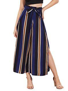 04ff56a98fc SweatyRocks Women s Striped High Waisted Lounge Wide Leg Palazzo Pants  Capris at Amazon Women s Clothing store