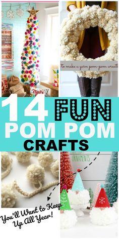 14 Fun Pom Pom Crafts for Adults 14 DIY pom pom crafts that include easy Christmas crafts and DIY home decor on a budget. DIY pom pom wreath, pom pom garland, pom pom Christmas crafts and more. Diy Craft Projects, Diy And Crafts Sewing, Adult Crafts, Easy Diy Crafts, Diy Crafts Videos, Creative Crafts, Diy Crafts To Sell, Craft Ideas, Sell Diy
