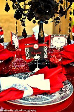 Red & Black Damask- BOTTLE  LABELS - Girls - Woman Birthday, Bridal Shower, Wedding - Phantom of the Opera -  printables - Krown Kreations. $3.50, via Etsy.