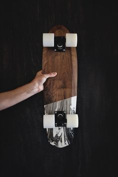 Skateboard wood marbel Cruiser 70s style Rollholz by tomwilhelm89