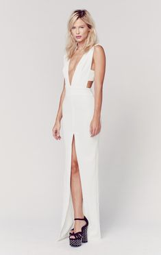 Model wears White Maxi Dress with Slit For lookbook Photoshoot