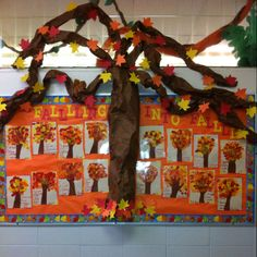 Fall bulletin board idea: I had the kids write acrostic poems for fall or autumn on a piece of construction paper, then they traced their arm/hands on the paper (trunk of tree). Next, they painted their trunks brown. Then, they used sponges to sponge paint leaves on their trees. It's a fun and cute bulletin board idea and the colors really pop!