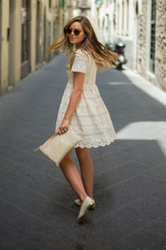Lace Minidress + Ballet Flats + Zip-Top Clutch