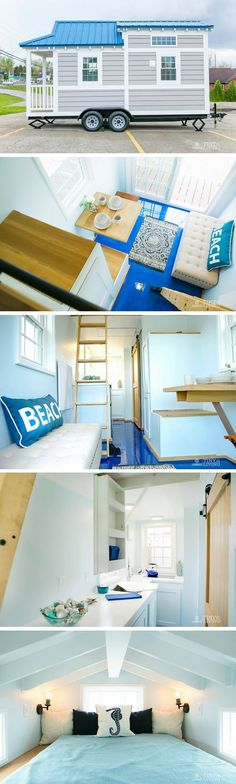 The Shonsie, a beautiful blue tiny house with a stunning interior design.