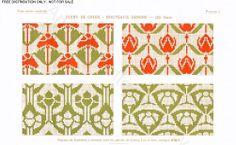 D.M.C. Point de Croix Nouveaux Dessins 2me Série, page 7, c. 1905. More stunning art nouveau and Provençale charted cross-stitch designs. All-over patterns, floral, green and red