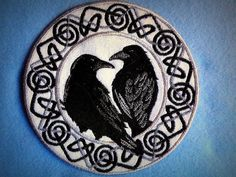 Celtic Ravens Iron on Patch in Silver and Black by Gerri Tullis.