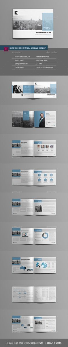 Business Brochure / Annual Report Template InDesign INDD #design Download…
