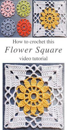 Motifs Granny Square, Flower Granny Square, Crochet Blocks, Granny Square Crochet Pattern, Crochet Flower Patterns, Crochet Blanket Patterns, Crochet Flowers, Crochet Stitches, Knit Crochet