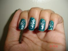 Silver flowers on teal