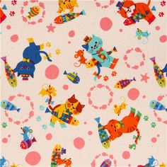 cream Cosmo cat animal fabric from Japan with cats with fish