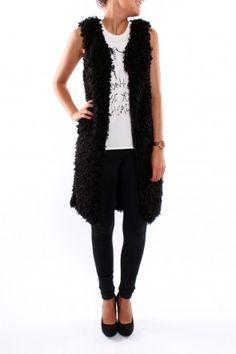 Fluffy Long Black Vest