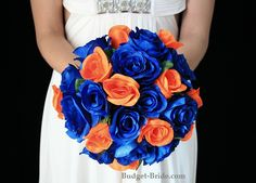 Royal Blue and Orange Wedding Flowers - Check out navarragardens.com for info on a beautiful Oregon wedding destination!